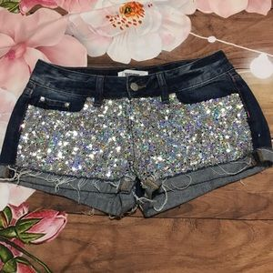 PINK Victoria's Secret silver sequin jean shorts